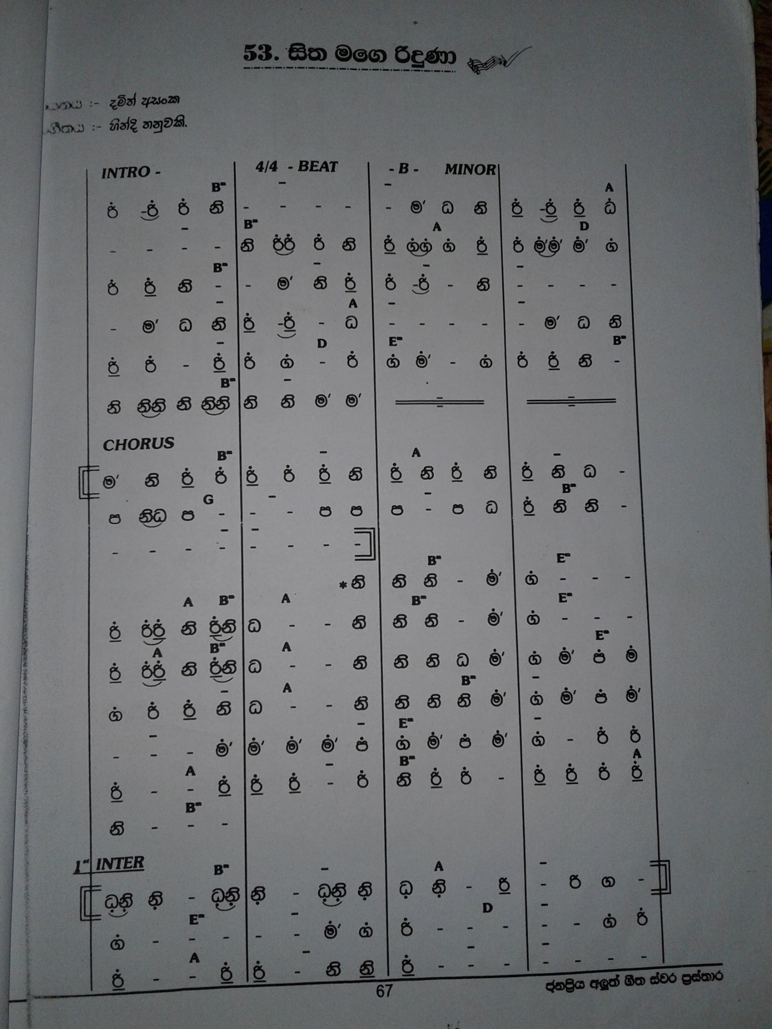 sinhala organ notes